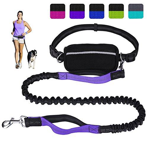 LANNEY Hundeleine zum Laufen, Wandern, mit Zwei Griffen, reflektierendes Bungee, Kotbeutel-Spender, Verstellbarer Taillengürtel, stoßdämpfend, ideal für mittelgroße bis große Hunde, schwarz/violett
