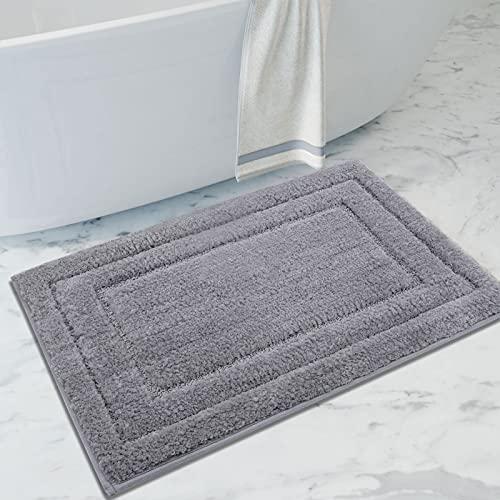 OEEAU Alfombrilla de baño de microfibra, lavable a máquina, antideslizante, ultra suave y absorbente de agua, para baño (40 x 60 cm), color gris oscuro
