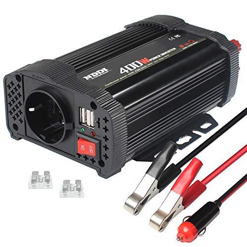 NDDI Wechselrichter 400W Auto Spannungswandler, 12V DC auf 230V AC Autokonverter Ladegerätadapter mit Zwei 3.1A USB Anschlüssen und Wechselstromsteckdosen Schnellladung