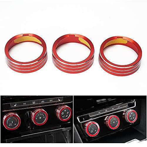 Auovo Auto Klimaanlage Knopf Lautstärkeregler Schalter Taste Dekorationsring Kompatibel für Golf 7 Mk7 GTE GTI GTD (Rot)