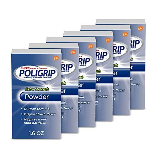 Super Poligrip Extra Strength Denture Adhesive Powder, Denture Powder for Dentures - 1.6 Ounces (Pack of 6)