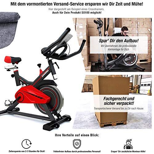 Profi Heimtrainer-Fahrrad SX100 inkl. VORMONTAGE | Hometrainer perfekt für Fitness Workouts Zuhause | Riemenantrieb leise | 13kg Schwungrad | Bodenschutz für Fitnessgeräte Zuhause & Pulsmessung