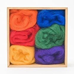 Wool Roving Rainbow Colors