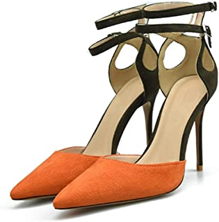 Ankle Straps Sandals For Women Stiletto High Heeled Pumps Pointed Sides Cut Two Tones Style Fashion Comfortable Shoes Attractive (Color : Orange, Size : 41 EU)