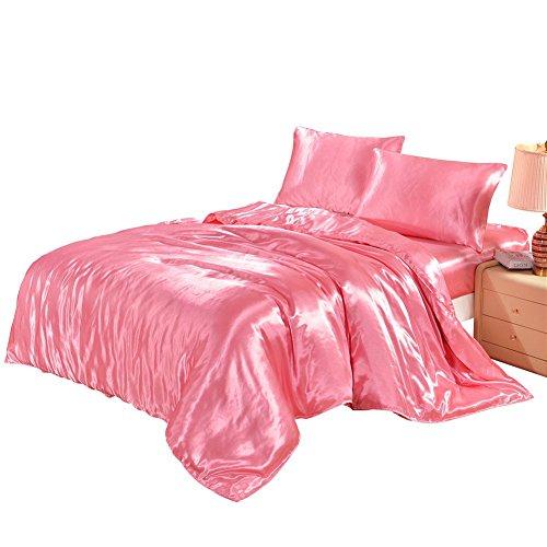HYSENM Set Bettwäsche Kissenhülle x 2 Satin einfarbig glatt bequem Verschiedene Größen, Rosa Bettwäsche(135 x 200cm)+1 x Kissenhülle(50 x 75cm)