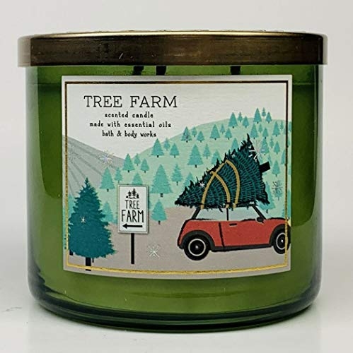 White Barn Bath & Body Works 3-Wick Scented Candle in Tree Farm (Red Car Design)