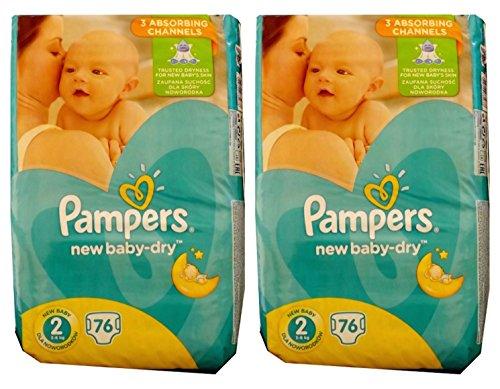 Pampers, pannolini New Baby-Dry, 152 (2 confezioni da 76), misura 2, 3-6 Kg, in cotone morbido