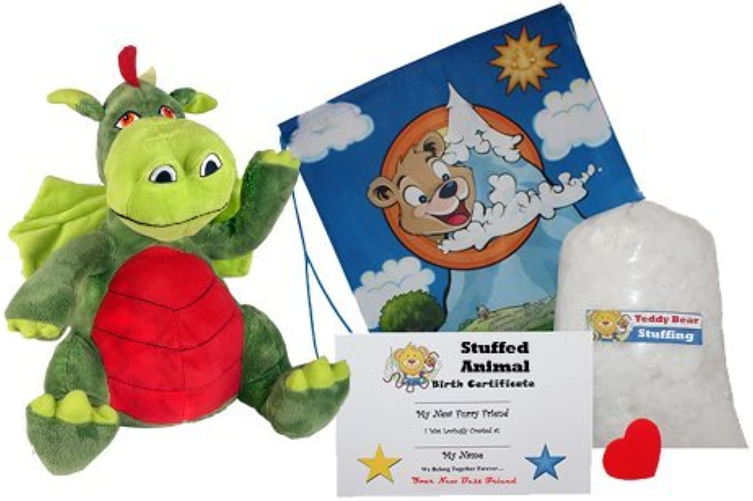 Make Your Own Stuffed Animal Fearless the Friendly Dragon  No Sew  Kit With Cute Backpack  by Stuffems Toy Shop