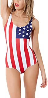 Lashaper Women's Patriotic American Flag Stars Stripes Swimsuit Leotard