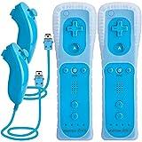 TechKen Remote Controller und Nunchuk für Wii,Remote PlusController für Wiimit Motion Plus und Nunchuck,Fernbedienung Joystick für Wii Remote Game Control mit Silikonhülle Handschlaufe für Wii/Wii u