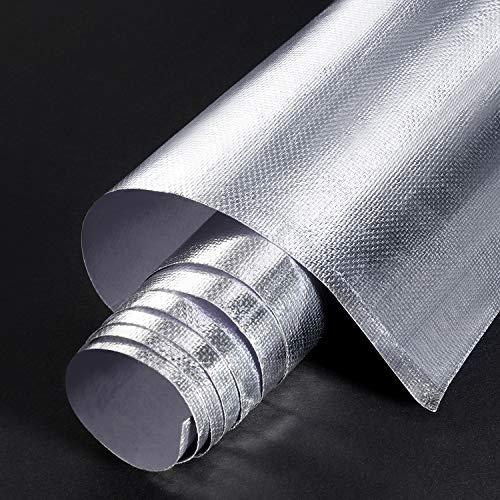 24 x 48 Zoll Kleberücken Aluminium Glasfaser Blatt Praktische Hitzeschild Schutz Barriere Abdeckung Aluminium Hitzeschutz Matte für Schlauch und Automatische Verwendung