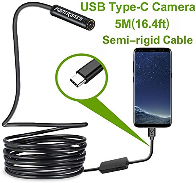 USB Snake Inspection Camera Fantronics 2 0 MP IP67 Waterproof USB C Borescope Type C Scope Camera With 8 Adjustable LED Lights For 16 4ft Samsung Galaxy S9 S8 Google Pixel Nexus 6p Not For IPhone