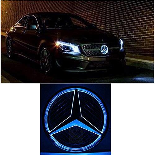 Cszlove Car Front Grilled Star Emblem LED Illuminated Logo for Mercedes Benz 2013-2016 Center Front Badge Lamp Light (Blue Light)