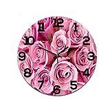 LUOYLYM Hermosa Rosa Carta Decoración Reloj De Pared Reloj Acrílico Mudo Movimiento Reloj Nórdico Reloj Artesanal P190430-10 28CM