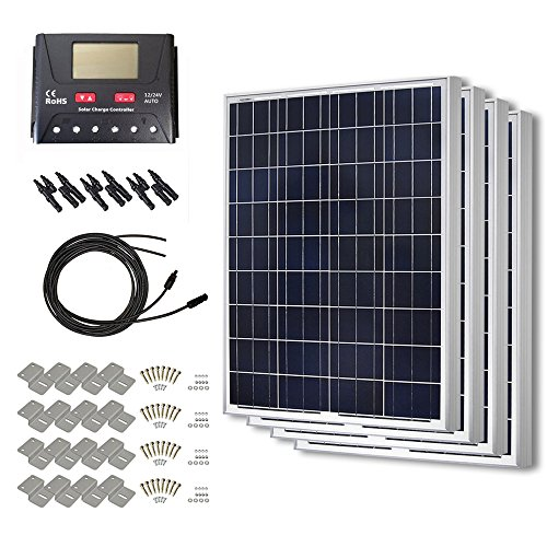 HQST 400 Watt 12 Volt Polycrystalline Solar Panel Kit with 30A PWM LCD Display Charge Controller