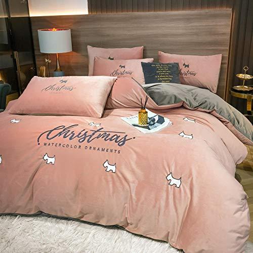 juego de funda nórdica cama 90-Estilo nórdico minimalista ligero de lujo franela gruesa de doble cara ropa de cama funda de edredón funda de almohada ropa de cama extra grande de Navidad-H_Colcha de