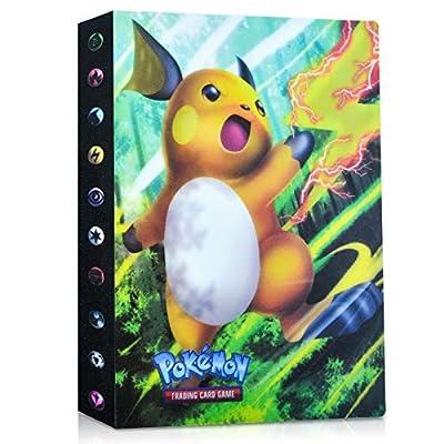 EKKONG Album Pokemon, Album Cromos Pokemon Cartas Álbum Álbum Titular de Tarjetas Pokémon GX EX Cartas Álbum 28 páginas - Puede Contener hasta 224 Tarjetas (Raichu) de EKKONG