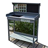 Wooden Outdoor Garden Potting Bench - Work Station Table with Sink Wood Patio Furniture Natural Gardening Workbench Drawer Storage Space Open Shelf