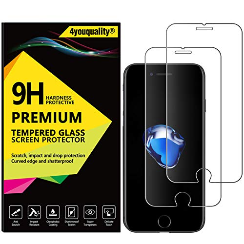 4youquality [2-Pack] iPhone 8 and iPhone 7 Screen Protector, Premium Tempered Glass Film [LifetimeWarranty][Scratch-Resistant][Anti-Shatter] Screen Protector for Apple iPhone 7 and iPhone 8