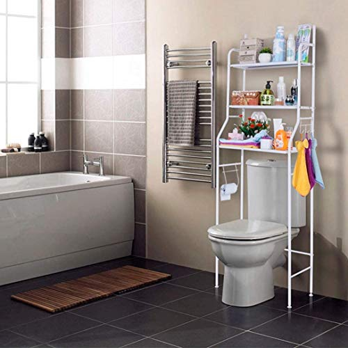 Nyana Home | Estantería de Baño sobre Inodoro | 3 Alturas | Soporte para Papel WC | Soportes para Toallas | Resistente a Agua y Polvo | Patas ajustables en Altura (Blanco)