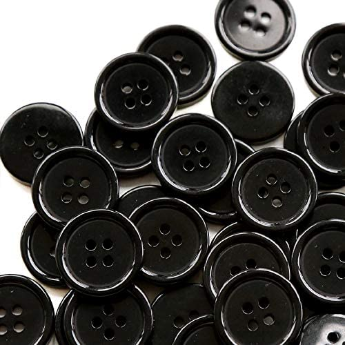 GANSSIA 13 16 Inch Black Button 20mm Sewing Flatback Buttons Round Resin DIY Craft Pack of 80 product image