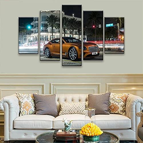VYQDTNR Imagenes Enmarcadas Arte de Lienzo Enmarcado de 5 Piezas Continental GT Supercar Pinturas sobre Lienzo Arte de Pared para Decoraciones de Hogar Decoración de Pared Obra de Arte