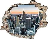 Queence Sticker mural effet 3D Motif fenêtre, New York, 60x50 cm