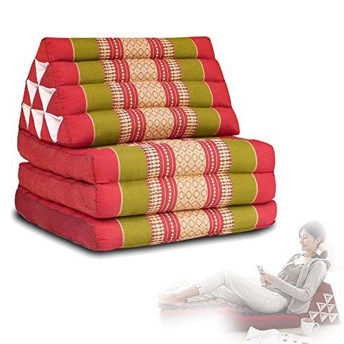 Coussin triangle thaïlandais en kapok biologique Oreiller, coussin de sol, chaise longue, banquette, canapé, chaise, bleu, Small