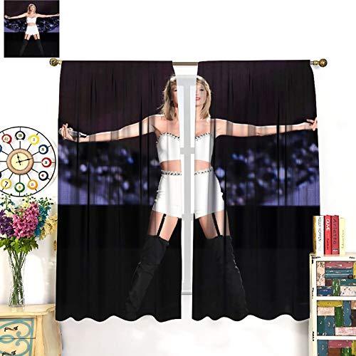 DRAGON VINES Taylor Swift Cortinas clásicas con diseño de cantante de música country, cortinas opacas anchas, para mantener el calor, cortinas correderas de cristal de 183 x 160 cm