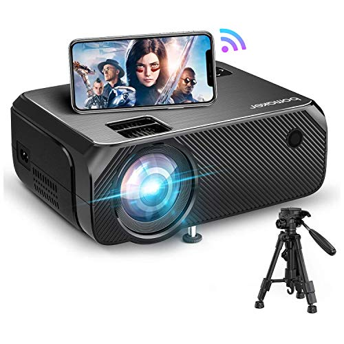 Bomaker Wi-Fi Mini Projector, Native 1280x720P Portable Projector for Outdoor Movies, 1080P Full HD Supported Outdoor Movie Projector, Wireless Mirroring, for iPhone/Android/PCs/Laptops/Windows