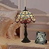Lámpara de noche creativa de la moda retro E27 Tiffany dormitorio de la lámpara de mesa lámpara de mesa,enchufe de la UE,blanco cálido
