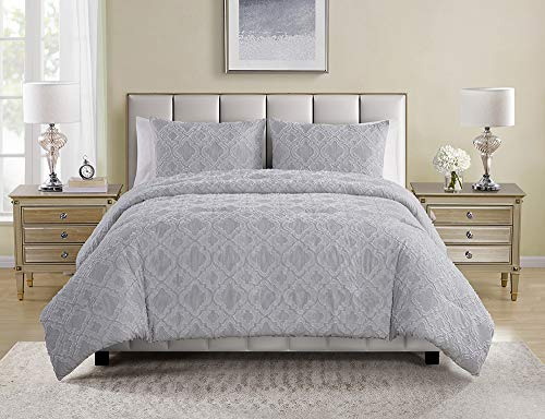 Tahari Home | Sutter Bedding Collection | Luxury Ultra Soft Comforter, All Season Premium 3 Piece Set, Modern Chic Clip Ogee Print, Designed for Home Hotel Décor, King, Grey