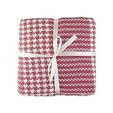 Valuax - Coperta in cotone, molto morbida, traspirante ed elegante, coperta estiva e invernale con frange (130 x 170 cm) (rosa)