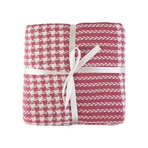 Valuax - Manta de algodón para cama, manta de sofá, manta – muy suave, transpirable y elegante, manta de verano y manta de invierno con flecos (200 x 220 cm), color rosa