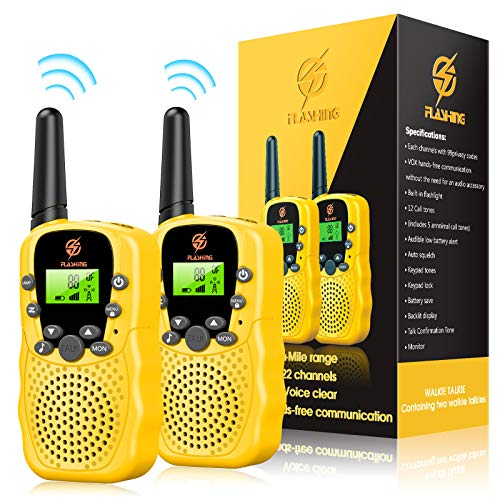 Snoky Walkie Talkies for Kids, Toys for 3-12 Year Old Boy and Girls, 2 Pack, 22 Channel, Two Way Radio with LCD Screen Flashlight, Best Gifts and Present for Christmas, Xmas, Birthday