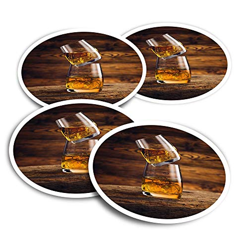 Pegatinas de vinilo (juego de 2) 10 cm – Vasos de whisky bebida whisky alcohol divertidos adhesivos para ordenadores portátiles, tabletas, equipaje, reserva de chatarra, frigoríficos #16204