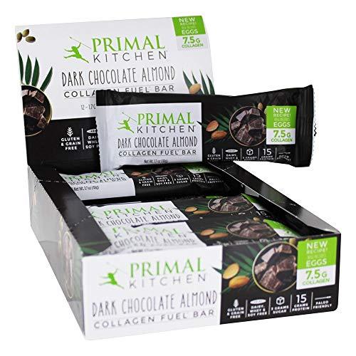 Primal Kitchen, Bar Collagen Dark Chocolate Almond Sleeve, 1.7 Ounce, 12 Pack