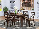 East West Furniture Dining Set 7 Pc - Wooden Modern Dining Chairs Seat - Cappuccino Finish Small Rectangular Dining Table and Body