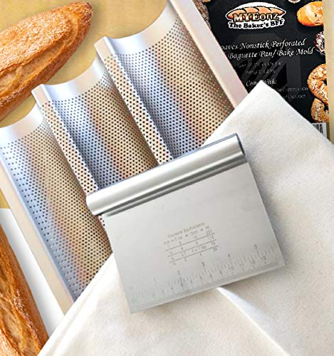 MYEonz Nonstick Baguette Pan for Baking -15'x11' Perforated Carbon Steel French Bread Pan, 3 Loaf Smooth Arc Angle Italian Bread Pan Baking Tray Bake Mold Toast + Pastry Proofing Cloth & Dough Scraper