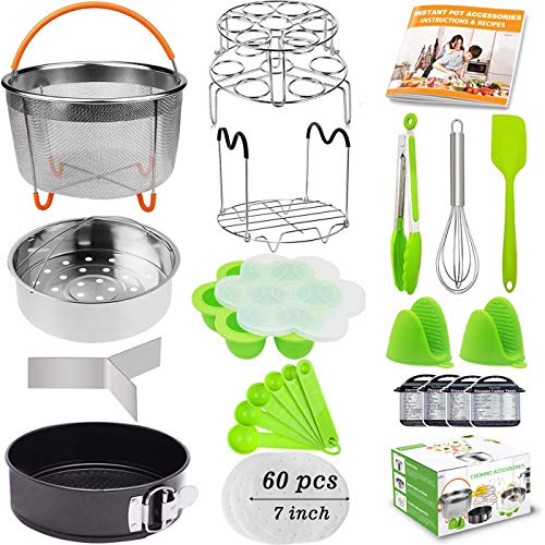 21Pcs Accessories for Instant Pot 6 qt 8qt, Ninja Foodi 8qt - 60 Pcs Parchment Papers, 2 Steamer Baskets, Springform Pan,Stackable Egg Steamer Rack, Instruction & Recipes Book