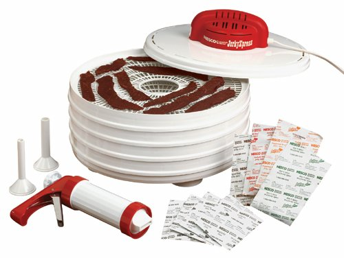 NESCO FD-28JX, Jerky Xpress Dehydrator Kit with Jerky Gun, White, 350 watts