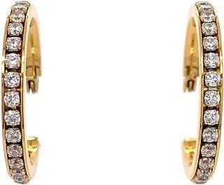 Bevilles Yellow Stainless Steel Crystal Hoop Earrings 30mm