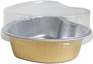 HinLot Disposable Aluminum Foil Heart Shape Muffin Cupcake Tart Molds Baking Cups (20pcs Thick Version with Lids)