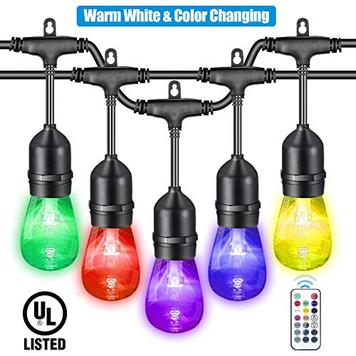 VAVOFO 48FT Warm White & Color Changing Outdoor String Lights, Dimmable LED Heavy Duty Hanging Patio String Lights Outdoor Indoor, Commercial Grade, Waterproof, Wireless, UL Listed