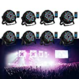GLARRY 1/4/8 Pack DJ Par Stage Lights with RGB 36LEDs Controlled by Remoter DMX Control and Sound Activated Stage Lighting for Wedding Party Christmas Home Decoration Bar Club-8 Pack