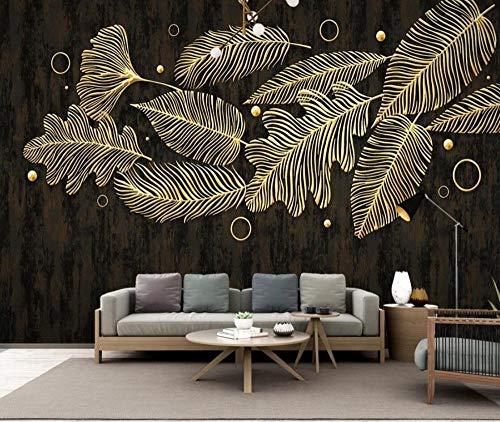 Fototapete 3D Tapete Goldene Geprägte Tropische Pflanzenblätter Extravagant Tapeten Vliestapete 3D Effekt Wandbild