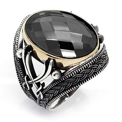 Argun Atelier joyería islámica turca Zulfiqar negro circón 925K anillo de los hombres de plata de ley 2
