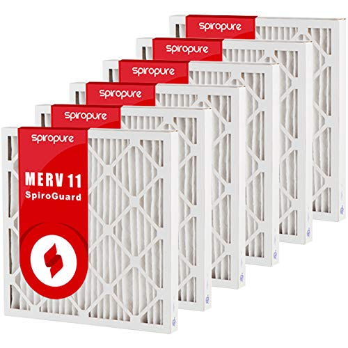 SpiroPure 28x30x2 MERV 11 Pleated Filter Air Filters - Made in USA (6 Pack)