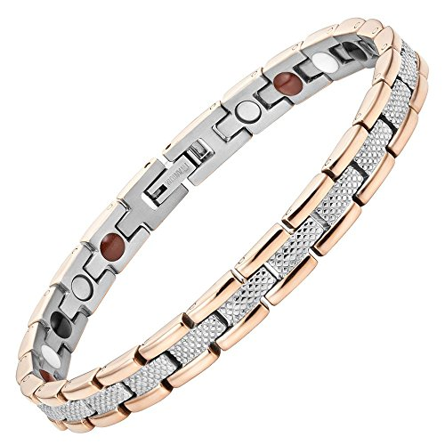 Willis Judd Womens Titanium Magnetic Therapy Bracelet for Arthritis Pain Relief Size Adjusting Tool and Gift Box Included