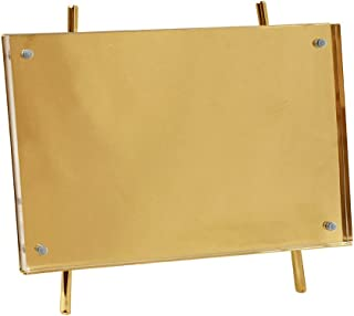 Isaac Jacobs 5x7 Gold Magnetic Acrylic Metal Easel Frame (5x7 (Horizontal) (Gold)